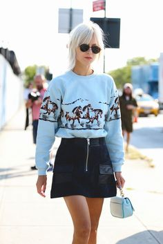 100+ Outfits We're Copying From The Streets Of New York City #refinery29 http://www.refinery29.com/2016/09/120553/nyfw-spring-2017-best-street-style-outfits#slide-112 Minibag meets miniskirt....