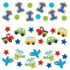 All Aboard 1st Birthday Value Confetti - Pack of 3 | - kids-partyshop.co.uk