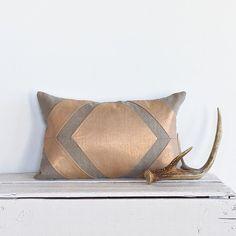 Metallic  Diamond Colorblock Pillow Cover - Copper/ Natural