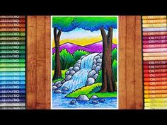 Easy Nature Drawings, Easy Scenery Drawing, Art Drawings Sketches Simple, Oil Pastel Drawings, Colorful Drawings, Oil Pastel Colours, Oil Pastels, Drawing Images For Kids, Waterfall Drawing
