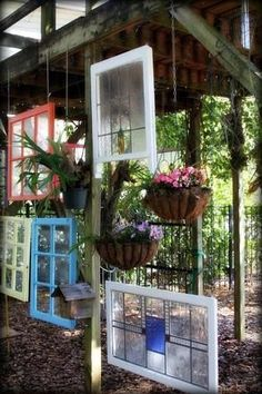 DIY Garden Art Ideas - Garden art with windows!  What a Great Idea!