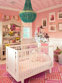 There's no doubt that this pink, pink, and more pink nursery belongs to Kourtney Kardashian and Scott Disick's little girl, Penelope. Kourtney actually designed this room herself, save the pink grass-cloth wall coverings from Ralph Lauren and a rug by Nursery Room, Girl Nursery, Girl Room, Kids Bedroom, Nursery Decor, Nursery Ideas, Room Ideas, White Nursery, Orange Nursery