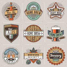 Color retro design insignias line art logotypes home brewery set Beer Logo Design, Brewery Design, Beer Label Design, Design Retro, Graphic Design, Sous Bock, Home Brewery, Typography Logo, Creative Logo
