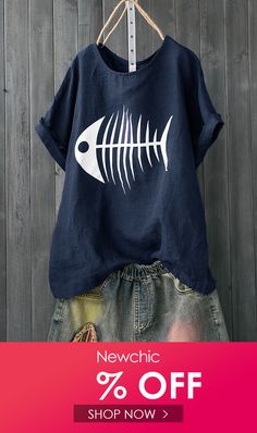 I found this amazing Print Fish Bone Casual Short Sleeve Cute T-Shirt with 14 days return or refund guarantee protect to us. T Shorts, Casual Shorts, Sierra Leone, Uganda, Clothes For Sale, Clothes For Women, Women's Clothes, Korea, Print Coupons
