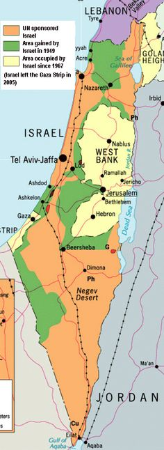 -UN sponsored Israel -Israel after 1949 war -Israel with territory gained 1967