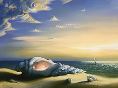 Vladimir Kush was born in Russia in a small one-story wooden house on the northern edge of Moscow, near the forest-park Sokolniki. His life and inspiration have been deeply involved with open spaces and oceans. For this reason many paintings in his huge (and beautiful) production are related to the sea.