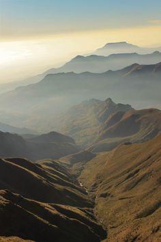 Lesotho. Beautiful drive through the scenic mountain range.