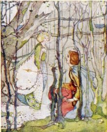 Thomas the Rhymer meets the Queen of Elphame in an illustration by Kate Greenaway.
