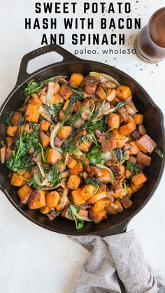 Sweet Potato Hash with Bacon and Spinach makes for an amazing side dish for breakfast! Serve it up with your favorite egg scramble, omelette, or frittata for a drool-worthy way to start the day. Only four ingredients needed for this tasty treat! Omelette, Frittata, Sweet Potato Hash, Good Healthy Recipes, Primal Recipes, Healthy Meals, Gluten Free Recipes, Real Food Recipes, Vegetarian Recipes