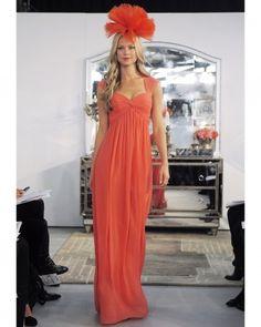 You girls are soooo wearing this hat hahahaha   LongOrange Bridesmaid Dress