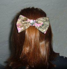 Mossy Oak Break Up Real Tree Redneck Camo Camouflage Neon Pink Hair Bow Barrette   eBay