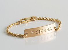 Personalized Baby Bracelet Gold Baby Bracelet by LEILAjewelryshop Bracelet Bebe, Baby Bracelet, Baby Jewelry, Gold Jewelry, Jewellery, Bracelets For Men, Bangle Bracelets, Diamond Bracelets, Silver Bracelets