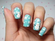 click through for tutorial (in my korean blog) snowman nailart