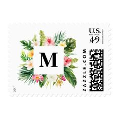 Watercolor Tropical Floral Frame Monogram Postage