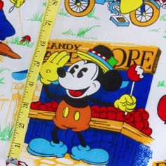 Vintage Mickey Mouse and Friends Fabric Curtain Panels Walt Disney Productions  #Disney