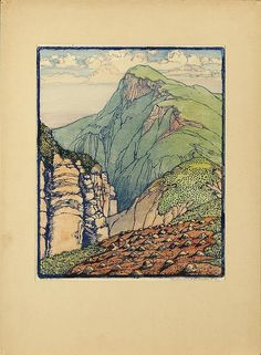 South Mountain - Color Block Print by Frances Gearhart, American, Art And Illustration, Landscape Art, Landscape Paintings, Landscapes, Landscape Sketch, Linocut Prints, Art Prints, Block Prints, Art Graphique