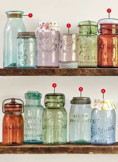 Vintage Kitchen ~With all the stuff my family comes across this could be good info.~ The Collector's Guide to Canning Jars - Antique Mason Jars - These vintage canning jars from the to the are the staple of retro country charm. Mason Jar Projects, Mason Jar Crafts, Mason Jar Diy, Bottle Crafts, Diy Projects, Kerr Mason Jars, Antique Bottles, Bottles And Jars, Glass Jars