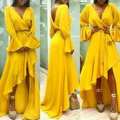 Evening Outfits, Evening Dresses, Summer Dresses, Gala Dresses, Casual Dresses, Formal Dresses, Cute Maxi Dress, Dress Up, Yellow Fashion