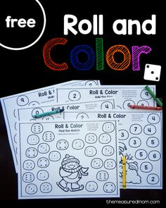 five free winter roll and color games for preschool and kindergarten!Get five free winter roll and color games for preschool and kindergarten! Winter Activities, Preschool Activities, Preschool Winter, Counting Activities, Winter Thema, Christmas Math, Kindergarten Christmas, Christmas Ornaments, Kindergarten Centers