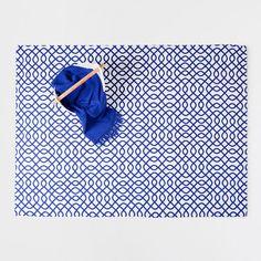Tapete de algodão estampado azul