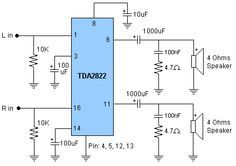 TDA2822 Stereo Amplifier Circuit