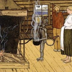 Devil by the Pot, watercolor by Hugo Simberg, Finnish Symbolist painter, graphic artist and photographer. This painting hangs in the Finnish National Gallery in Helsinki, Finland. Original Fairy Tales, National Gallery, Drawing School, Danse Macabre, Vintage Artwork, Dark Art, Helsinki, Devil, Scandinavian