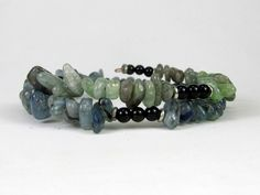 Kyanite Pebbles and Black Onyx Beads Memory Wire Bracelet #bc140 by CycleofLifeDesign on Etsy