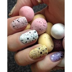 Nail Art Tutorial for Easter Robins Egg Fingernails ❤ liked on Polyvore featuring beauty products, nail care, nail treatments, nails, makeup, nail polish, beauty and filler