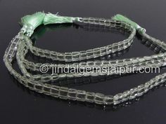 Green Amethyst Double Drill Chicklet Gemstone Beads.