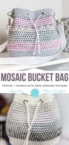 Mosaic Bucket Bag Free Crochet Pattern A wonderful and feminine bag with a mosaic motif. By combining several different yarns you will get the effect from the photo. This is a free pattern for. Stitch Crochet, Free Crochet Bag, Crochet Gratis, Crochet Diy, Crochet Tote, Crochet Handbags, Crochet Purses, Crochet Ideas, Crochet Projects