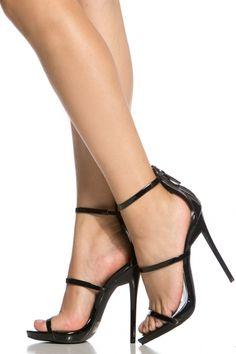 Black Faux Patent Leather Single Sole Heels