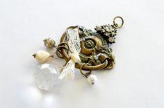 Bronze Jeweled Pendant Vintage Style Jewel Large by TheBeadBandit, $9.99