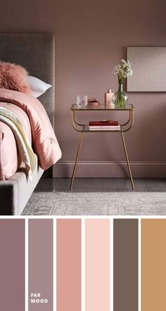 15 Earth Tone Colors For Bedroom { Mauve + blush + grey and gold accents } , mauve color scheme for bedroom, color palette, mauve color palette Bedroom Earth Tone Colors For Bedroom { Mauve + blush + grey & gold accents } Bedroom Colour Palette, Bedroom Wall Colors, Bedroom Color Schemes, Home Decor Bedroom, Mauve Bedroom, Mauve Walls, Colors For Bedrooms, Grey And Gold Bedroom, Bedroom Themes