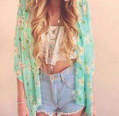 Buy Fashion Women Floral Print Short Sleeved Sheer Chiffon Kimono Cardigan Coat Tops Blouses at Wish - Shopping Made Fun Look Fashion, Teen Fashion, Fashion Women, Fashion Outfits, Fashion Trends, Swag Fashion, Denim Outfits, Teen Outfits, Outfit Jeans