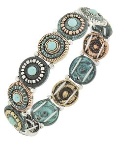 Tri-tone / Turquoise Stone / Lead&nickel Compliant / Patina Metal / Stretch / Bracelet
