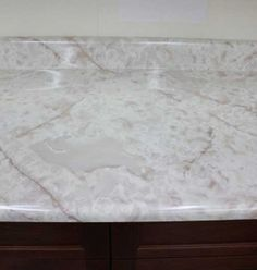 White Marble Laminate Top Create A Shopping List, Drip Edge, Galley Style Kitchen, Kitchen Cabinets In Bathroom, Laminate Countertops, White Marble, Make It Yourself, Home Decor, Decoration Home