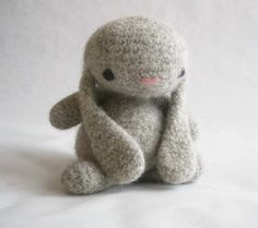 Felted Wool Bunny Crochet Plush Toy by MillieFern on Etsy, $36.00
