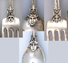 Mask designs on the reverse side of Tiffany Olympian, c1878 (strangeandpeculiarsilver)