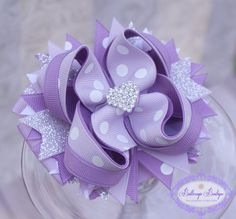 Purple layered boutique bow by buttercupsbows on Etsy, $10.99