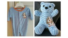 Turn your babies favorite sleeper, outfit or blanket into a teddy bear as a keepsake – It's a cutest idea I've ever seen ! Your Kids will love this way to
