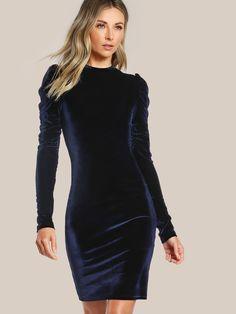 9c0997885d Shop Puff Sleeve Velvet Pencil Dress online. SheIn offers Puff Sleeve Velvet  Pencil Dress
