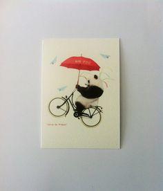 Carte AIR ZOO Panda vélo par HerosdeFrance sur Etsy