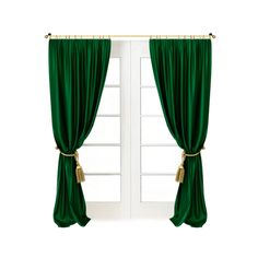 Shamrock Green Draperies - These long green Shamrock style curtains are elegant, classy, tasteful, just like most of the rich homes around the MidWest and East of there. These homes are known for being graceful and elegant, full of charm and decorum, and these curtains certainly would do any of them proper justice. Look for these babies online, and make your own home as charming as the rich North. - Found at myWebRoom.com