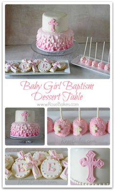 Baby Girl Baptism Cake, Cookies and Cake Pops   Rose Bakes