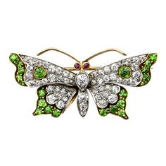 A late Victorian demantoid garnet and diamond butterfly brooch, the wings and body encrusted with old-cut and rose-cut diamonds, highlighted with demantoid garnets, with ruby eyes, set in silver to a yellow gold mount and brooch fitting. Insect Jewelry, Butterfly Jewelry, Bird Jewelry, Animal Jewelry, Antique Brooches, Antique Jewelry, Vintage Jewelry, Selling Jewelry, Jewelry Shop