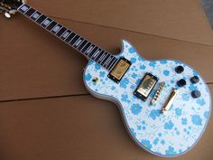 Free shipping  Customize lp  Electric Guitar body with Chinese blue and white porcelain pattern 101218