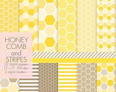 Yellow honeycomb digital paper pack by SandraGraphicDesign on Etsy