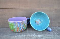 Set of 2 - Tie Dye Peace Sign Swirled Ceramic Cappuccino Mugs - 28 oz. - in Rainbow Colors - Discounted on Etsy, $55.00