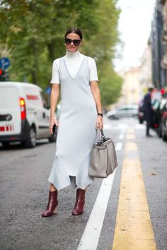 50 turtleneck outfit ideas to wear this fall and winter: layer a midi slip dress over a white turtleneck