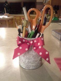 Soup can + ribbon + glitter craft paper =  cute pencil holder!